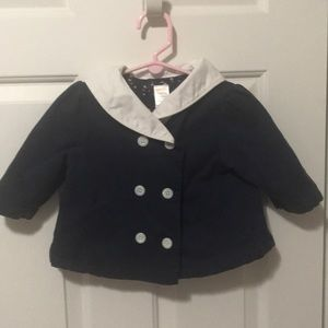 Gymboree sailor coat Navy and White